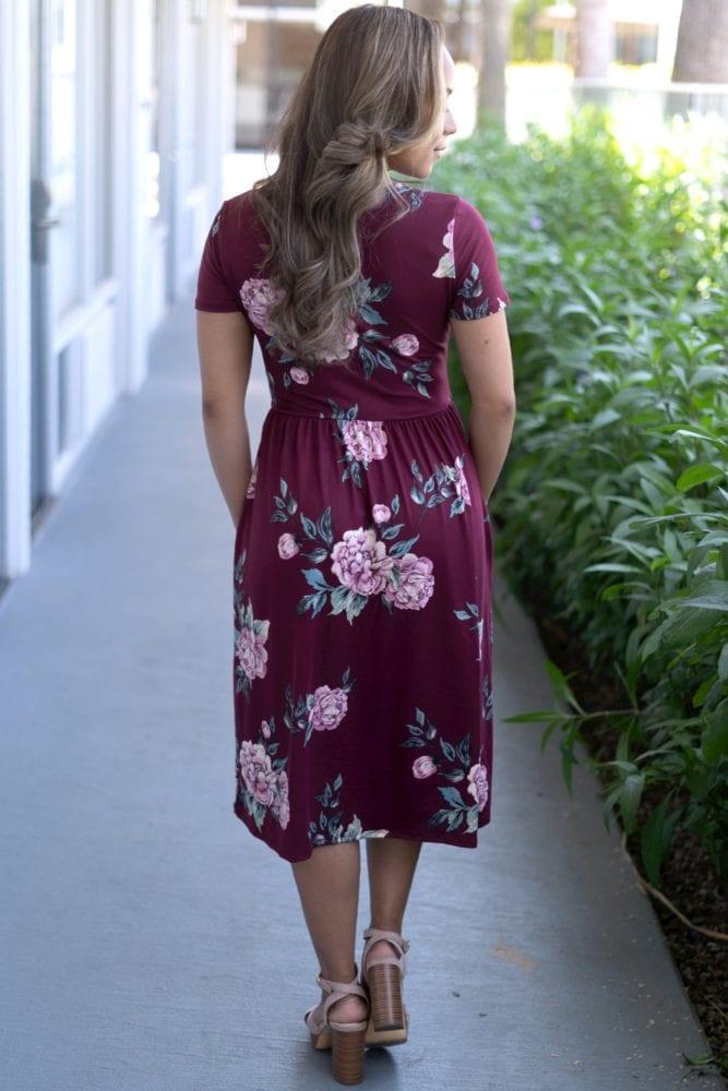 burgundy floral dress