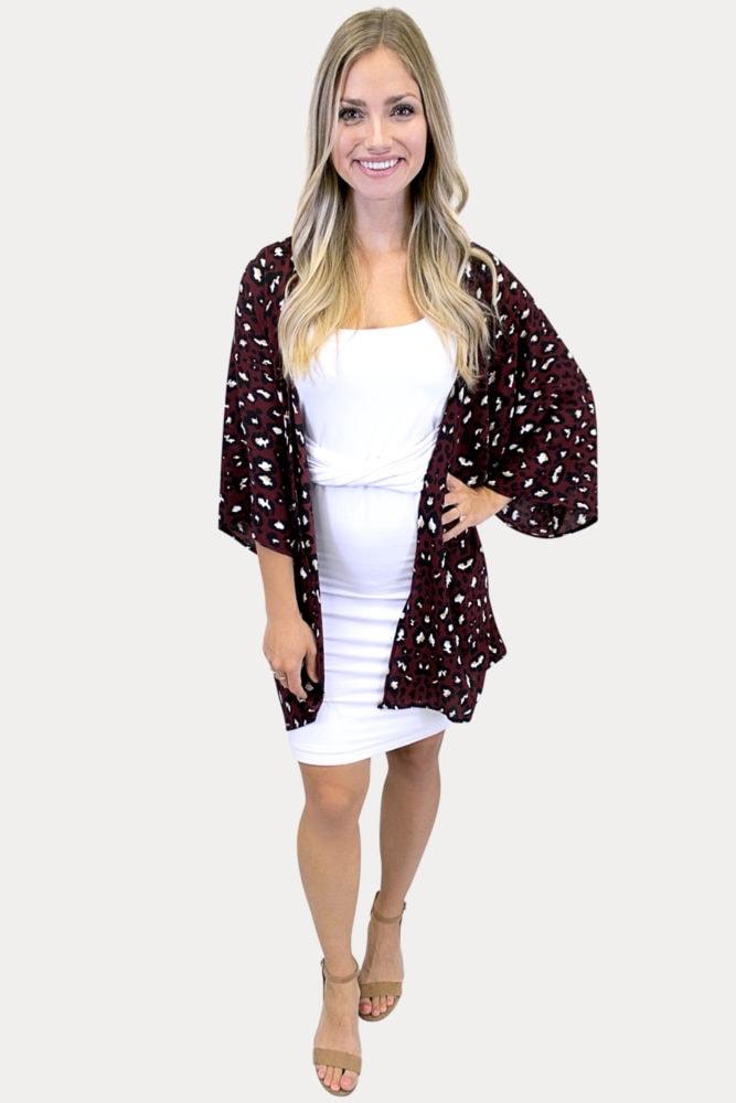 burgundy leopard kimono