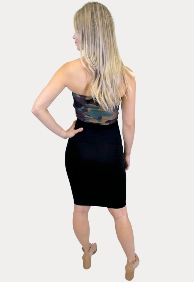 camo strapless maternity outfit