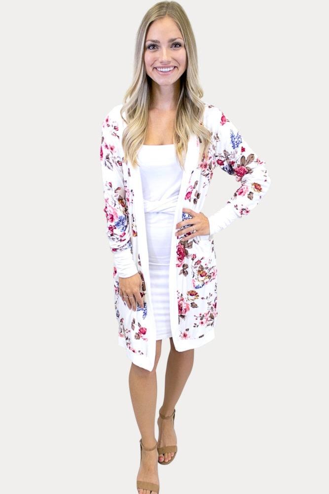 cream floral cardigan