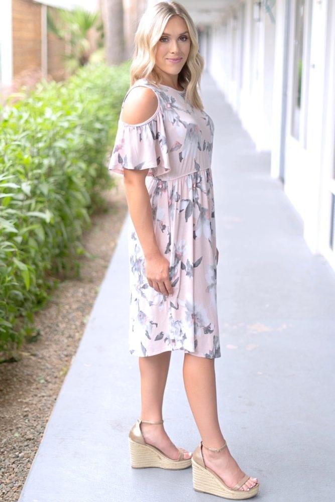 flowy blush dress