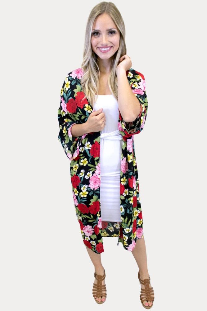 floral kimono in black