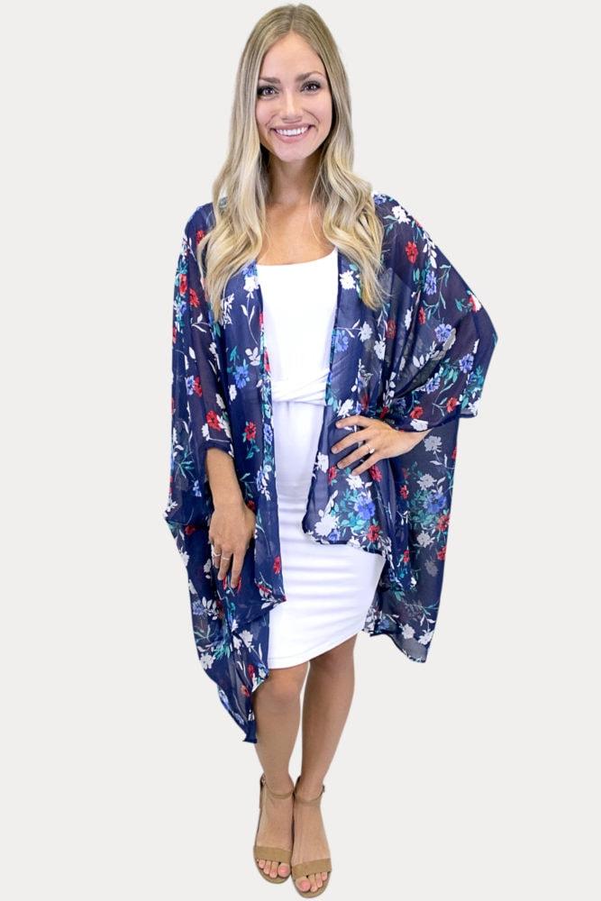floral kimono in navy