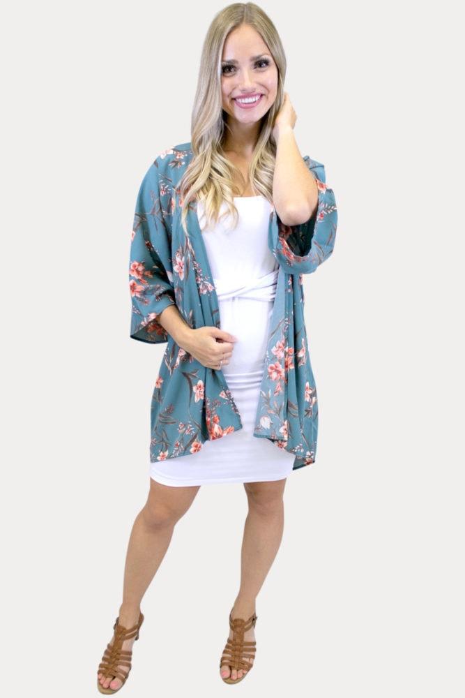 Floral Kimono in Teal