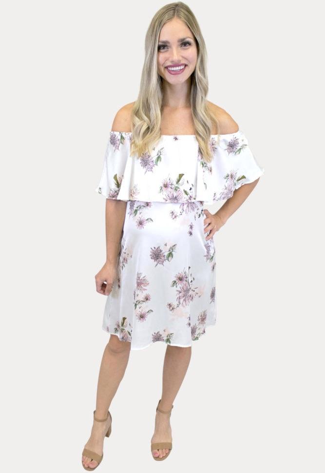 satin floral maternity dress