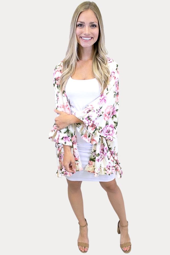 floral ruffle kimono