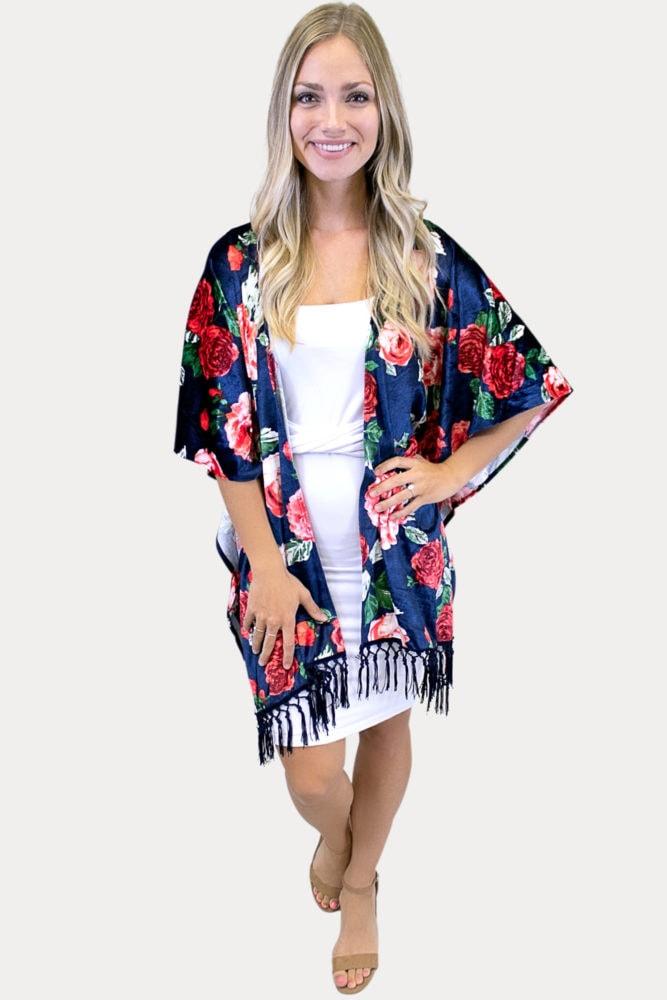 navy velvet kimono