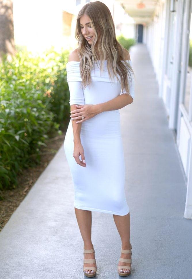midi off the shoulder dress