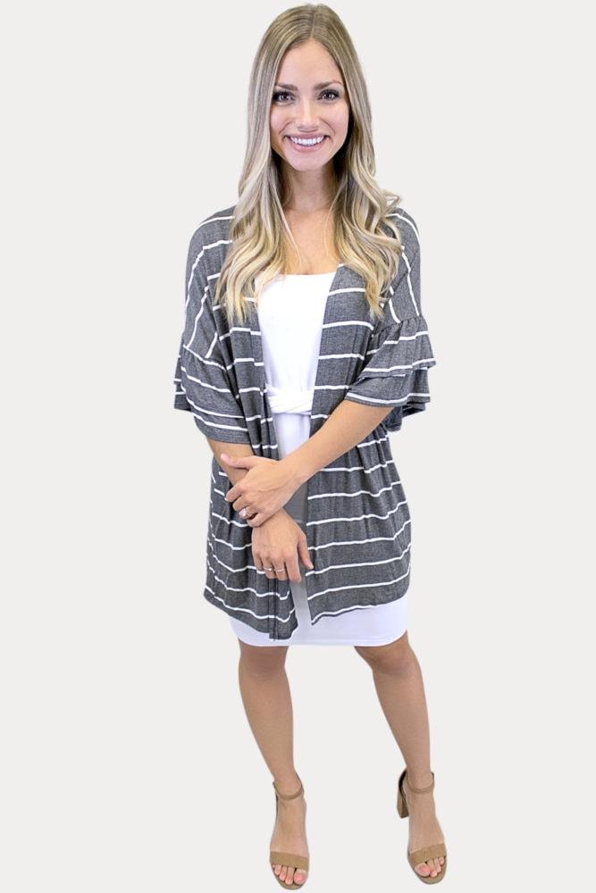 grey striped kimono