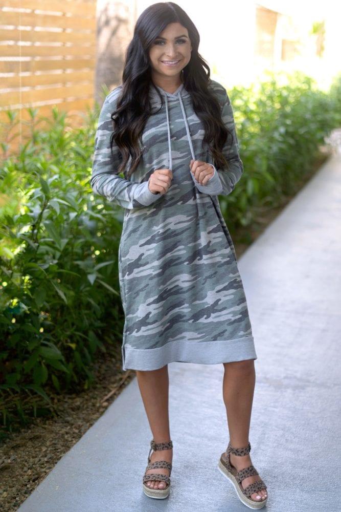 hooded camo dress