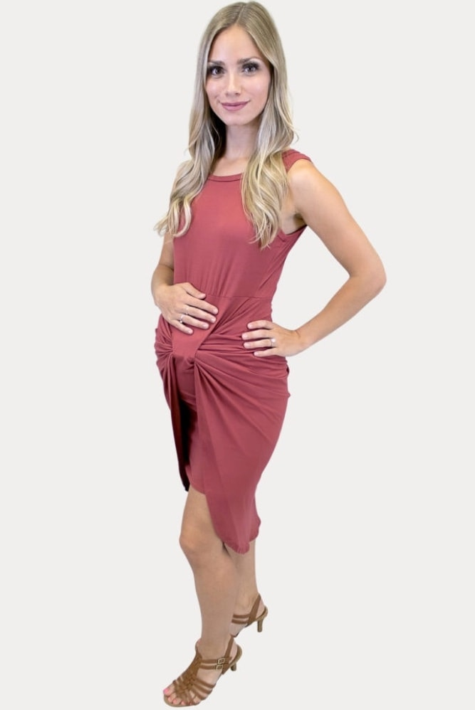 twist front maternity dress