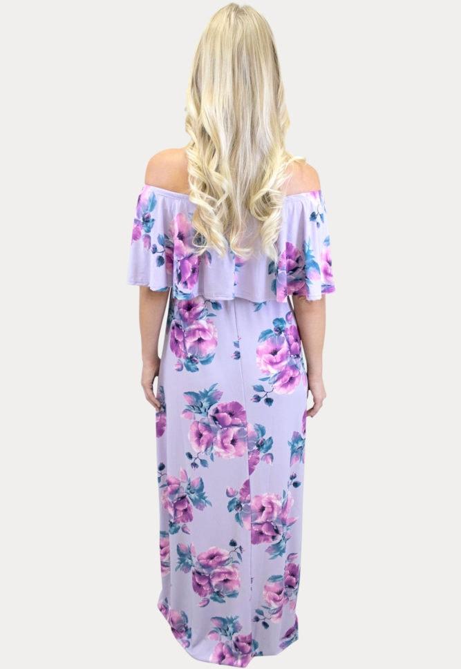 lavender floral maternity maxi dress