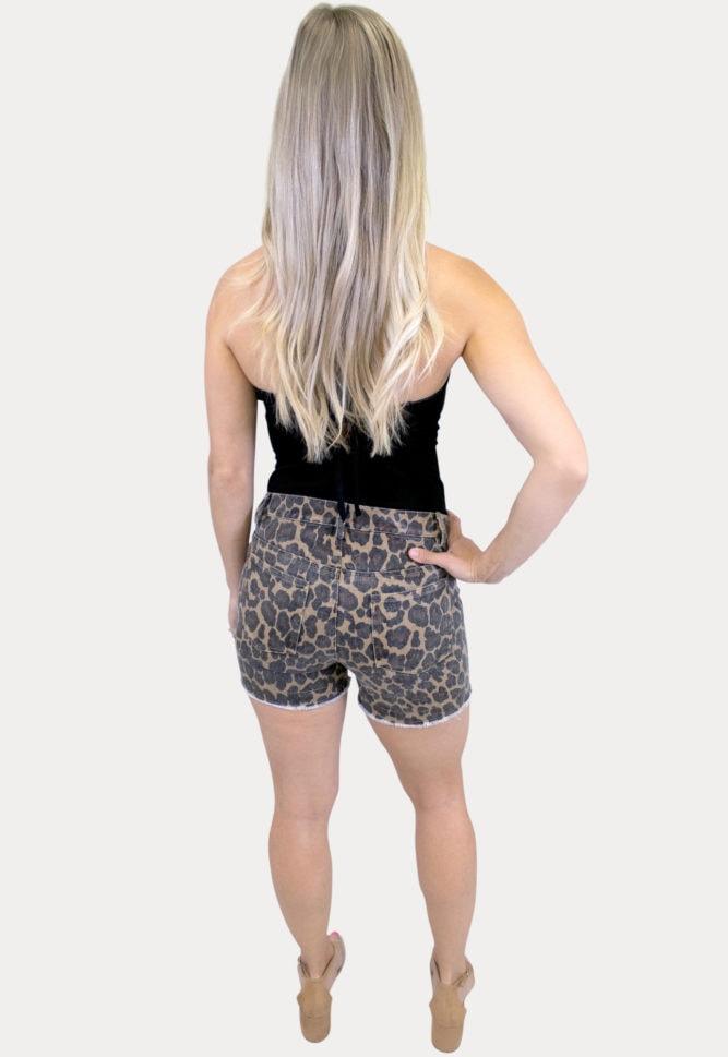 leopard maternity shorts