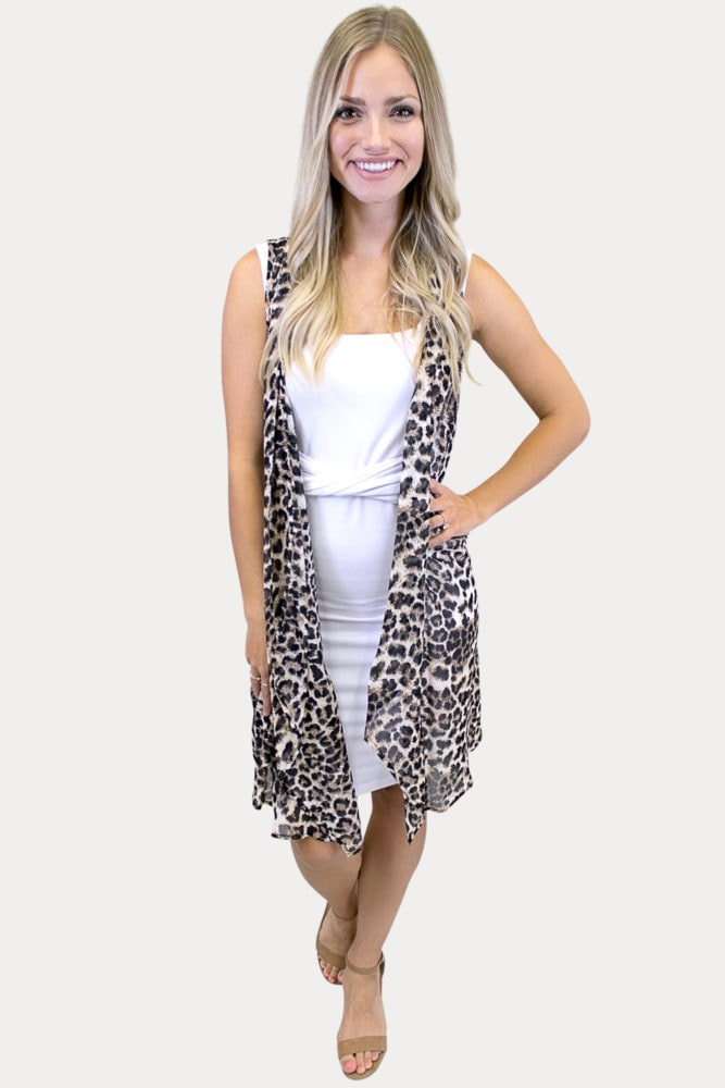 sleeveless leopard kimono