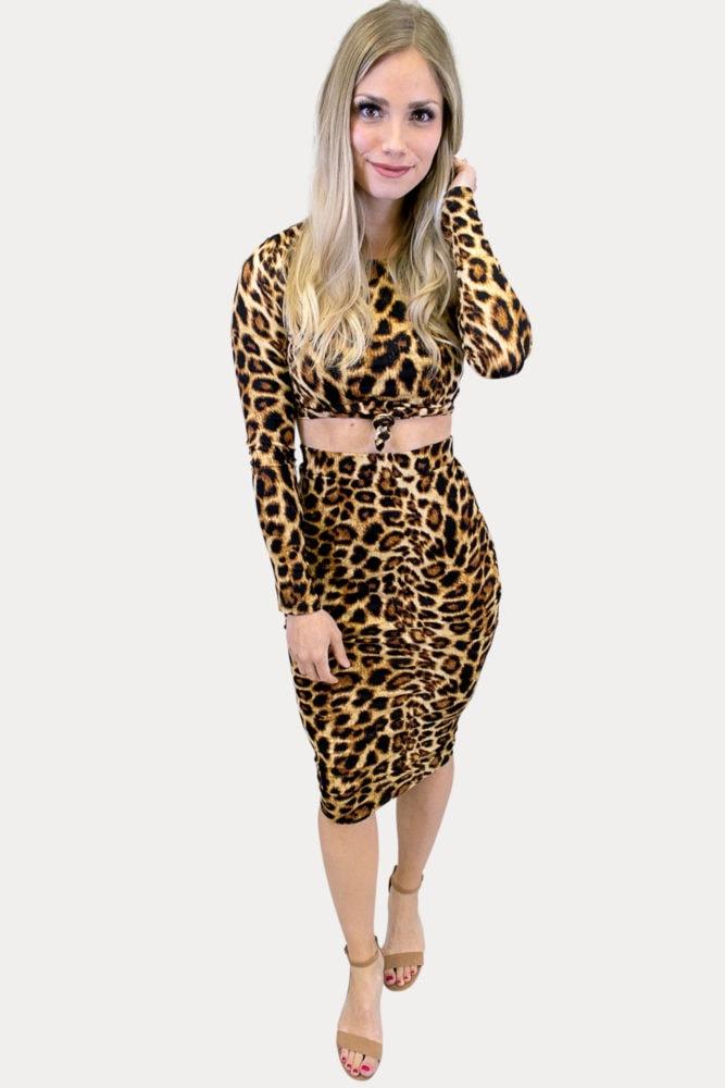 leopard skirt crop outfit