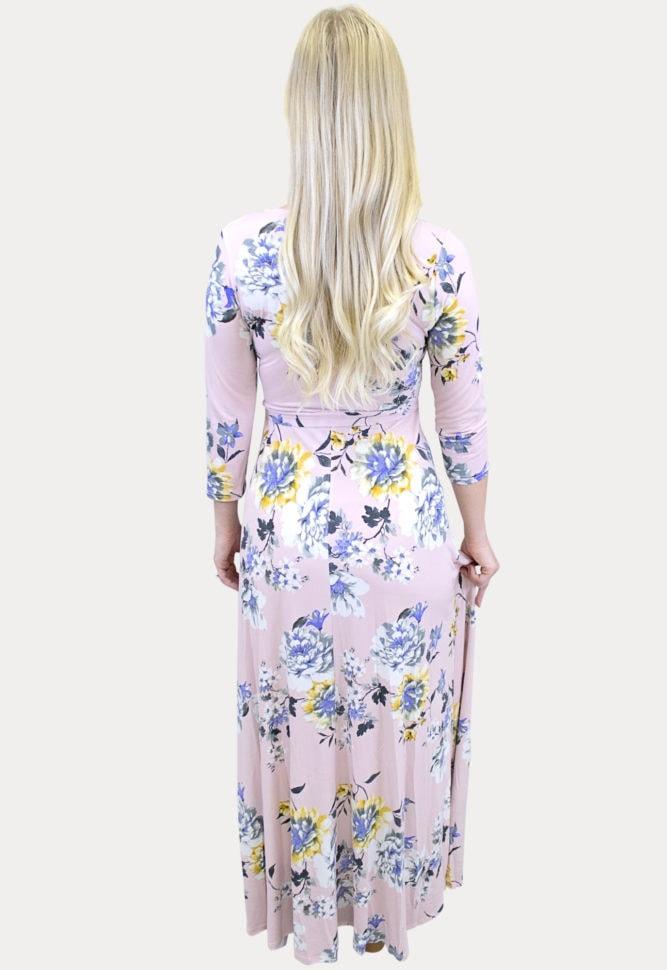 pink maternity wrap dress