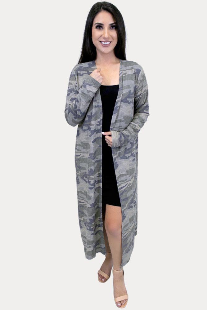 women's long sleeve camo duster