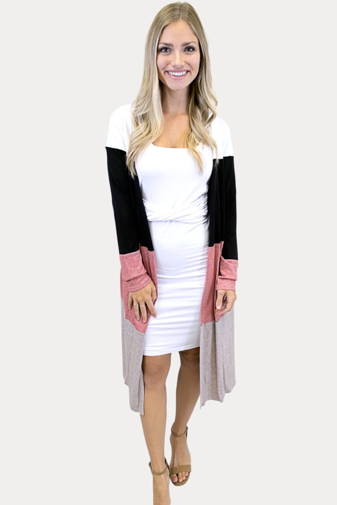 women's color block cardigan