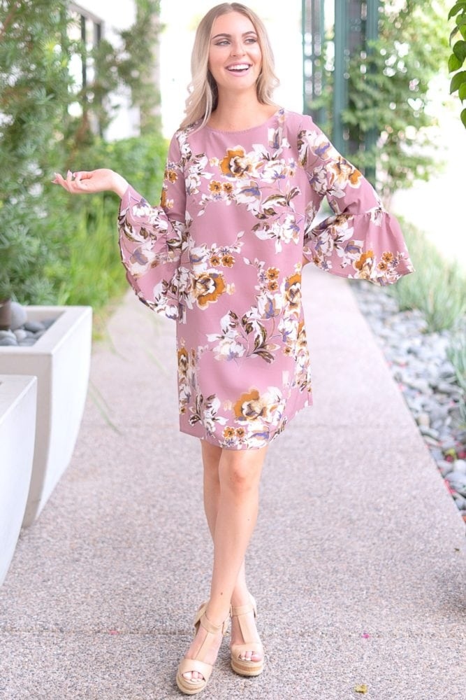 mauve bell sleeve dress