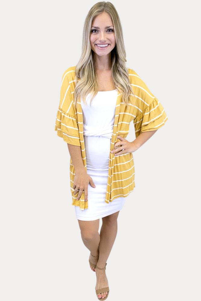 mustard striped kimono