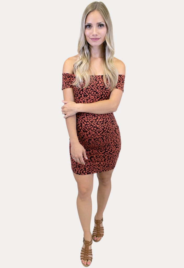 off the shoulder leopard maternity dress