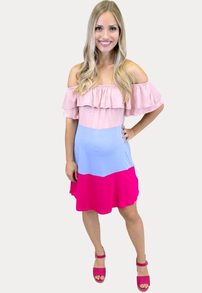 off shoulder gender reveal dress