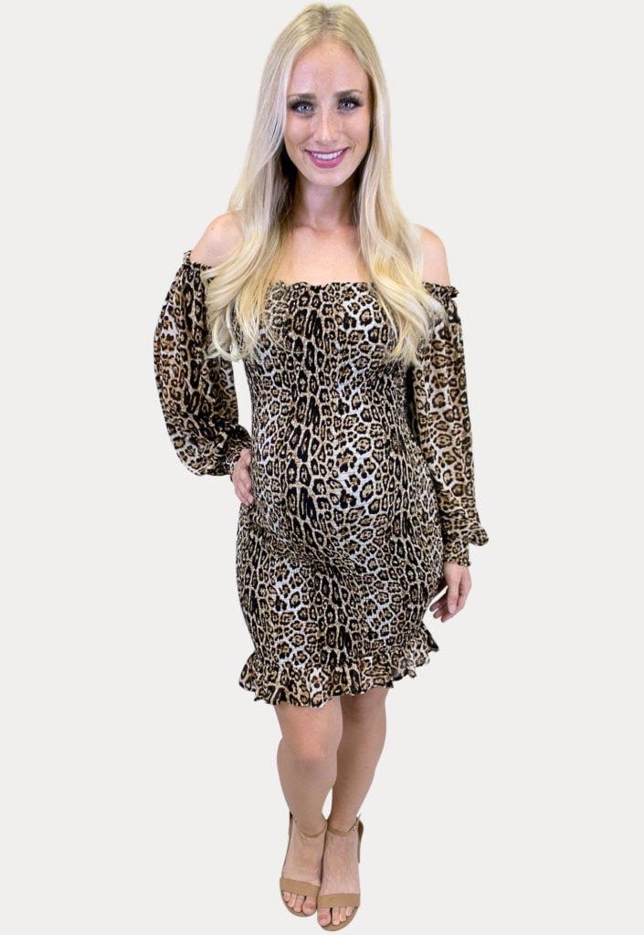 smocked leopard maternity dress