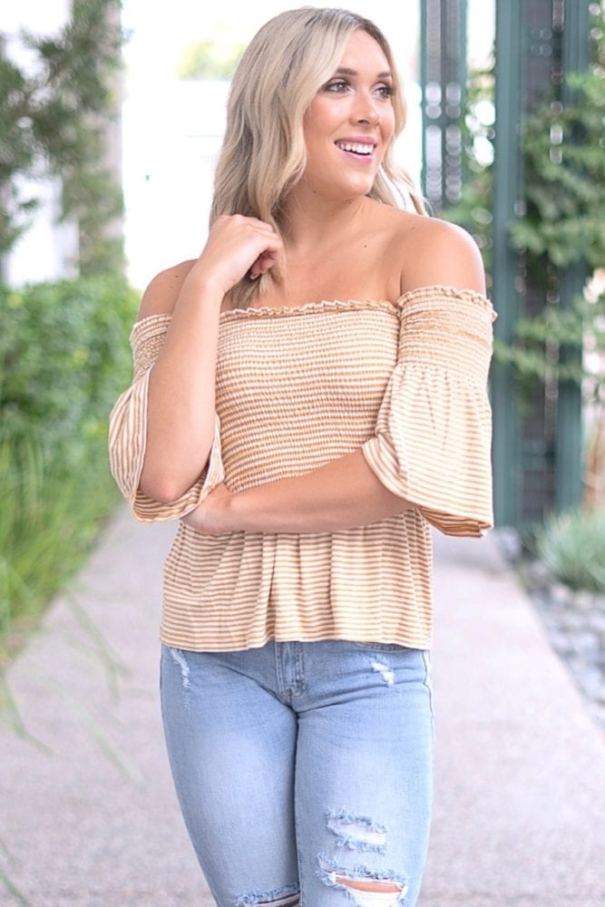bell sleeve striped tunic
