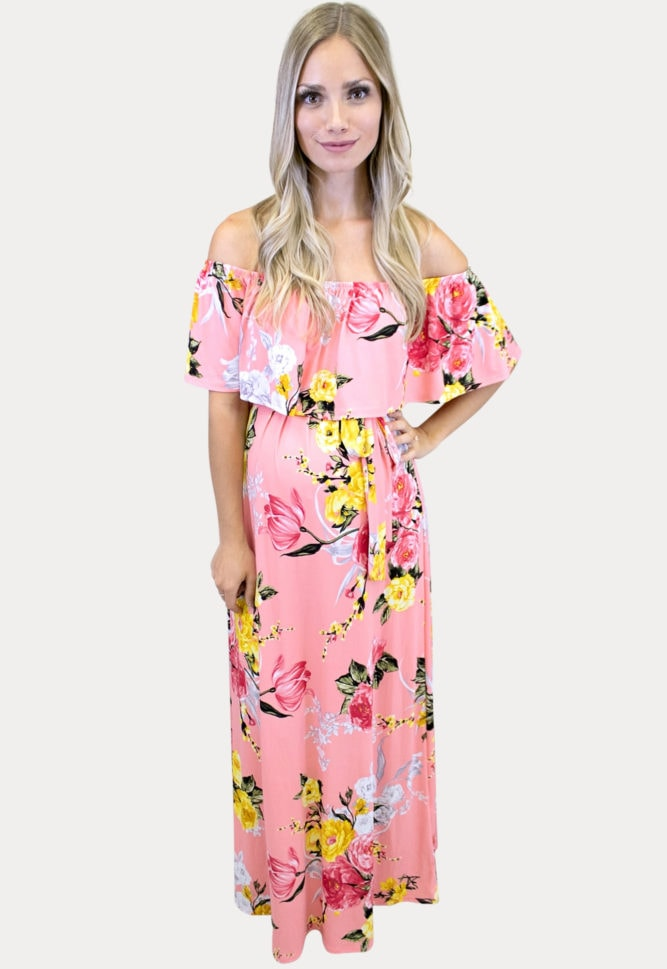 pink floral maternity maxi