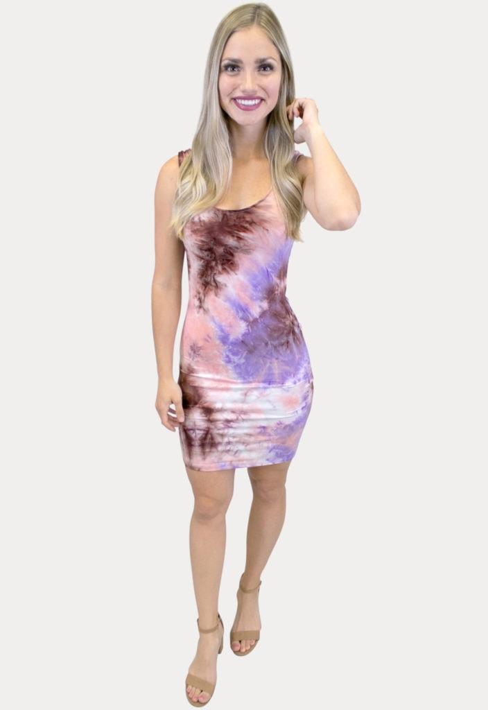 purple tie dye dress
