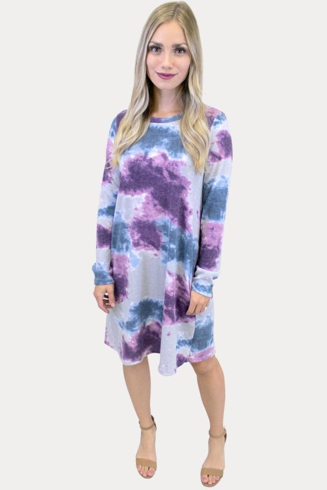 long sleeve tie dye dress