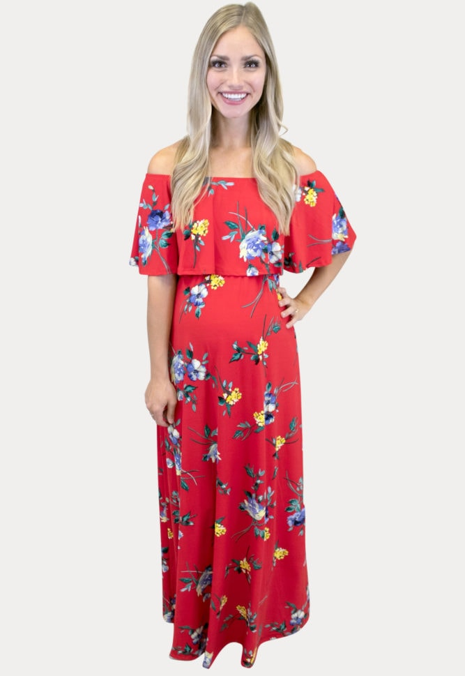 red floral maternity maxi dress