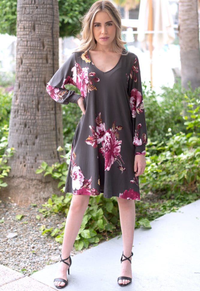 floral dress in charcoal