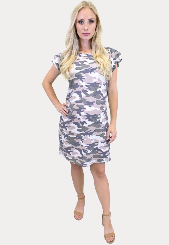 camo ruffle sleeve maternity dress