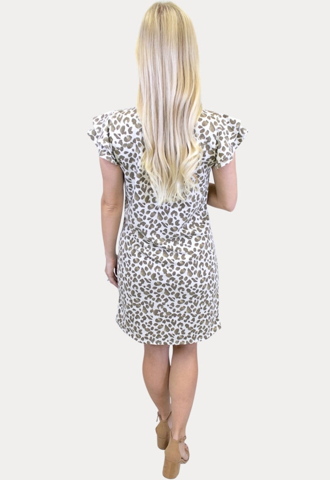 ruffle sleeve leopard maternity dress