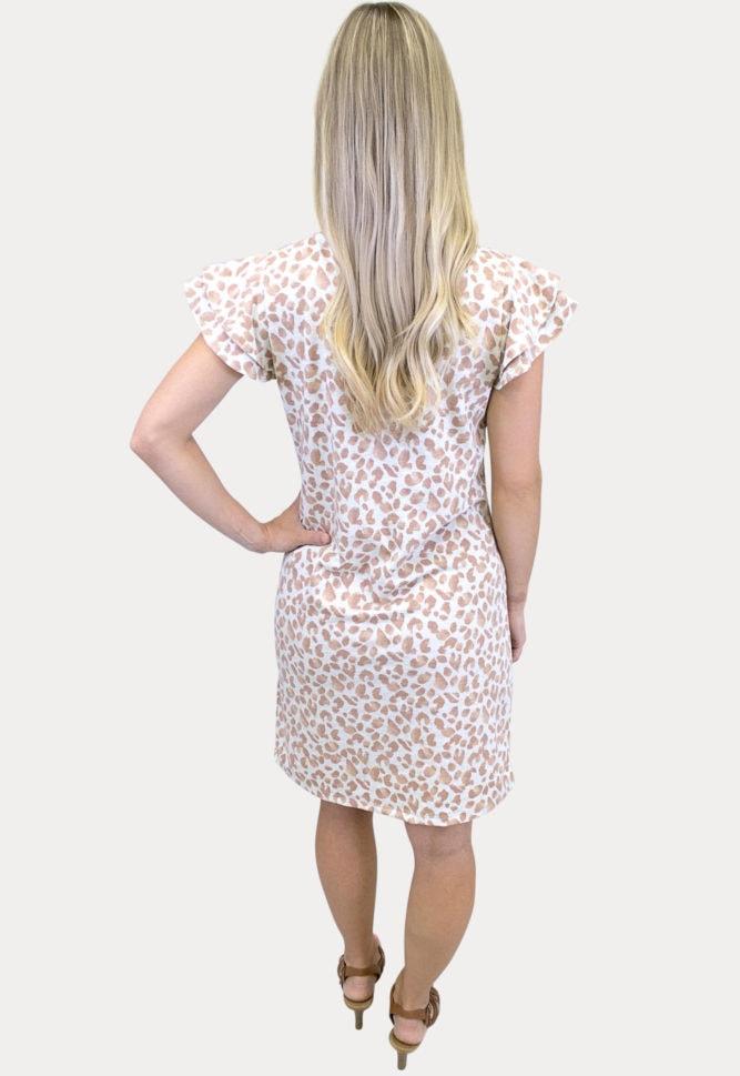 leopard ruffle sleeve maternity dress