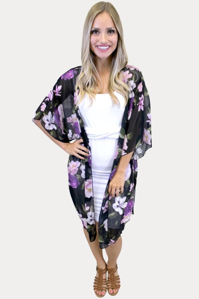 Sheer Floral Kimono in Black