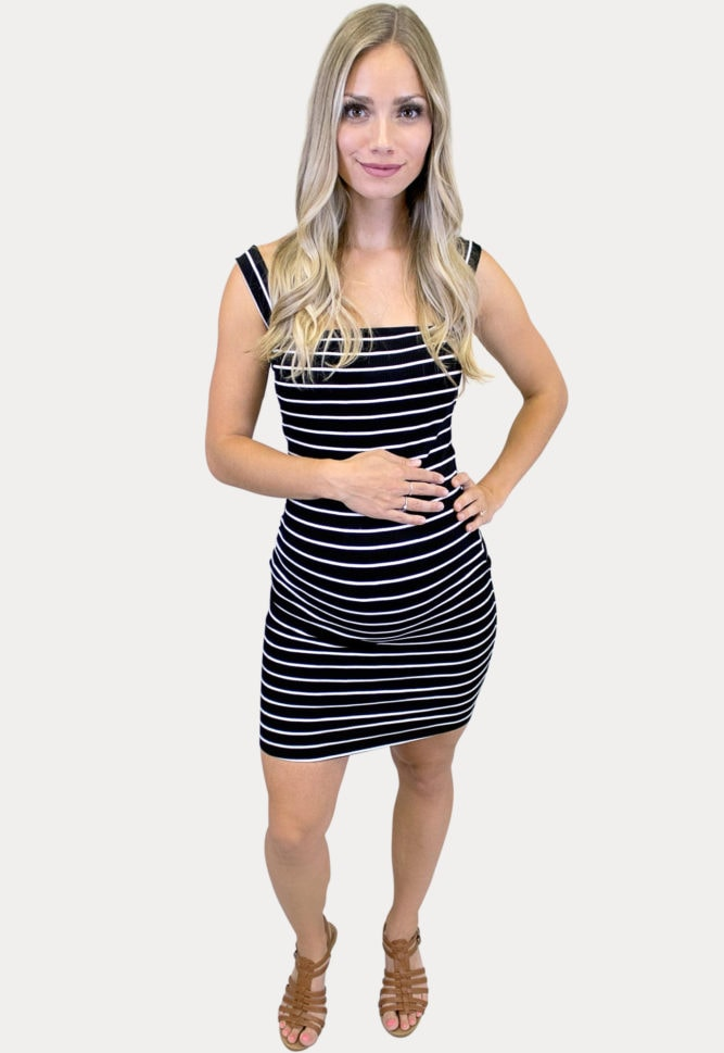 sleeveless striped maternity bodycon