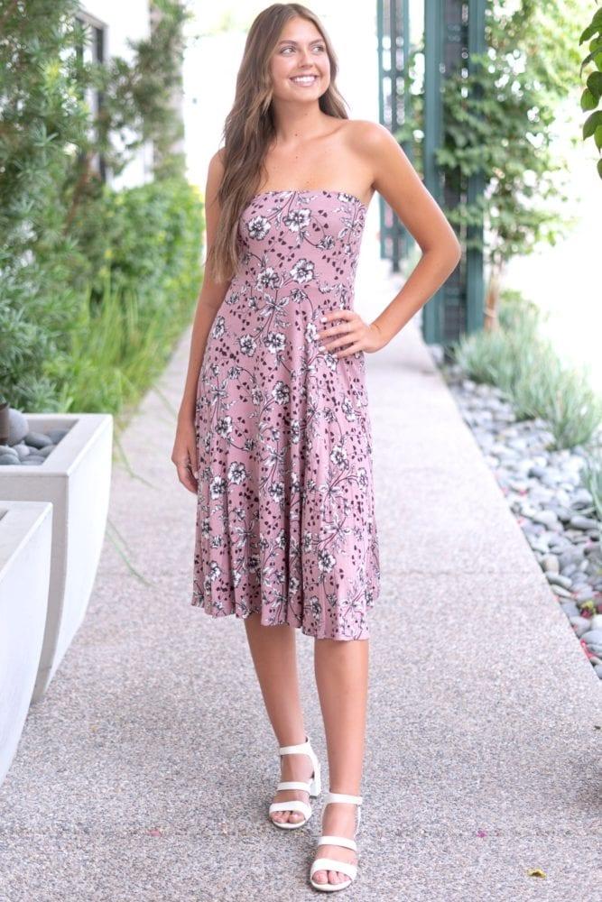 strapless mauve floral dress