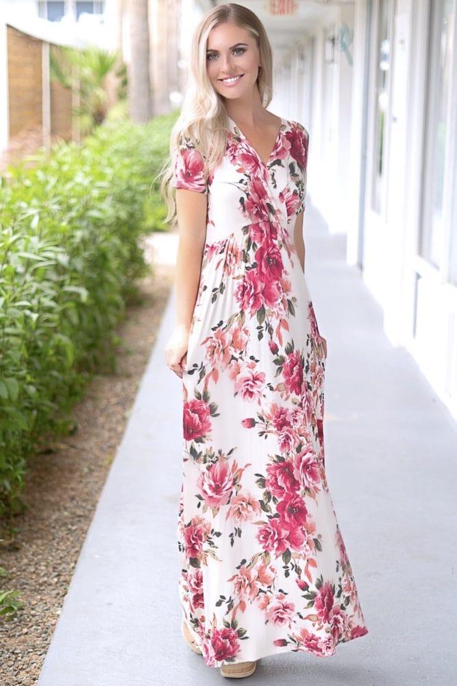 floral short sleeve maxi