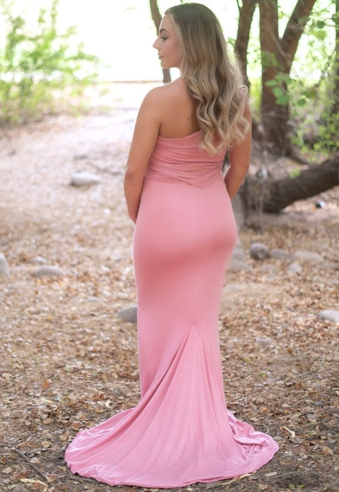 flattering one shoulder maternity gown