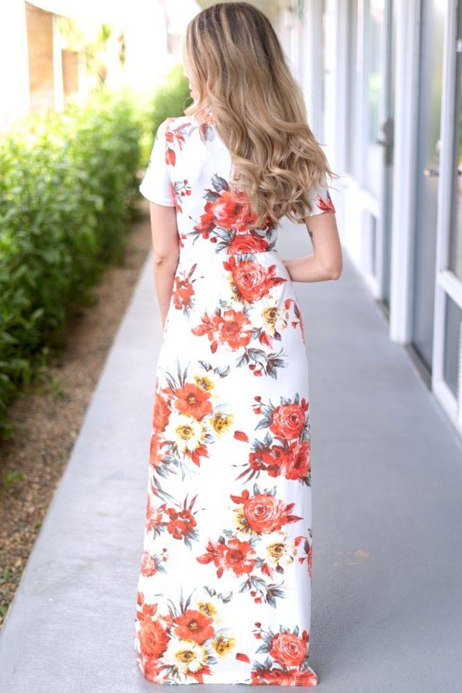 v-neck floral maxi dress