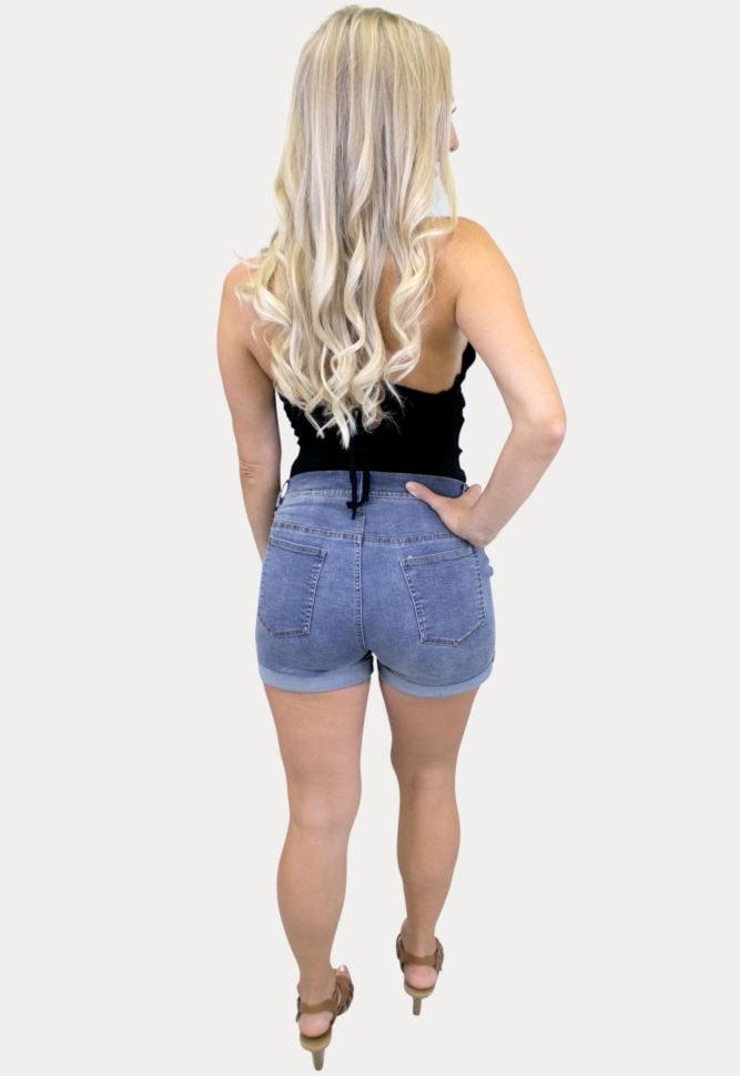stretchy maternity jean shorts