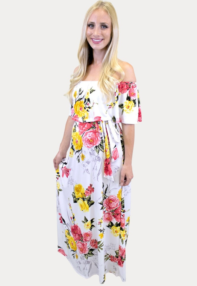 yellow floral maternity maxi dress