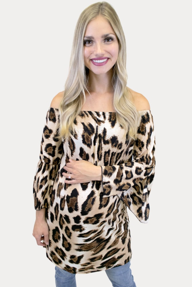 bell sleeve leopard maternity top