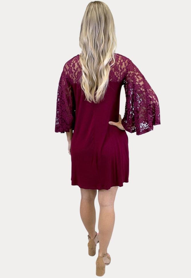 burgundy lace maternity dress