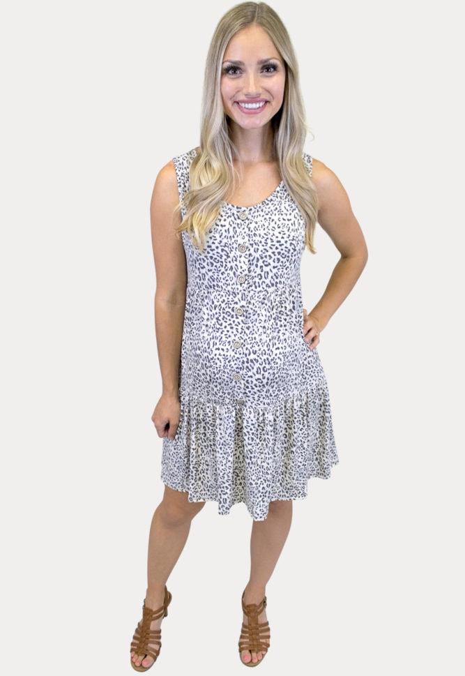 sleeveless leopard maternity dress
