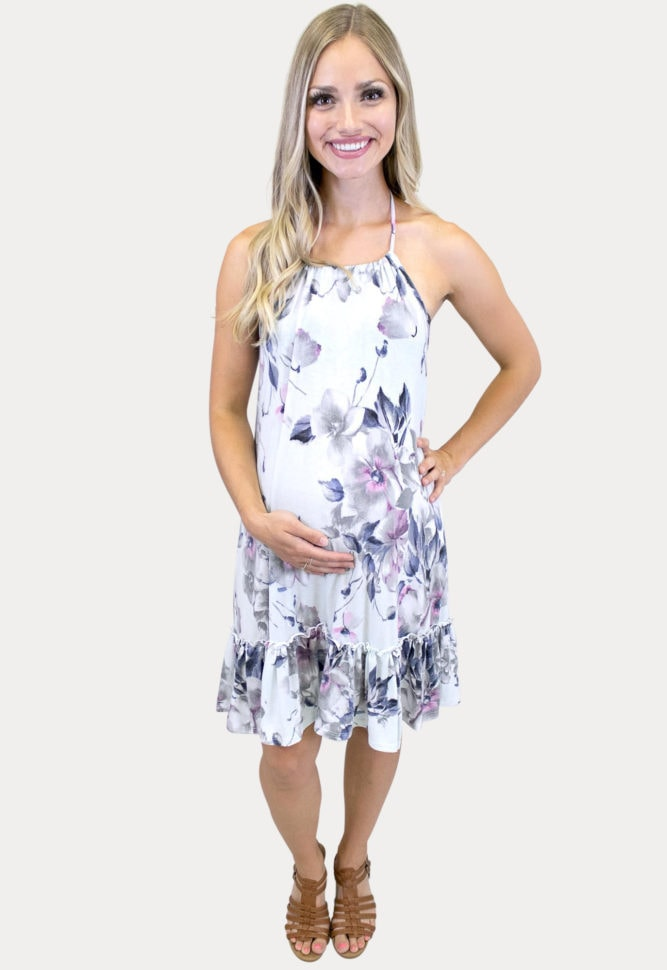 floral halter top pregnancy dress