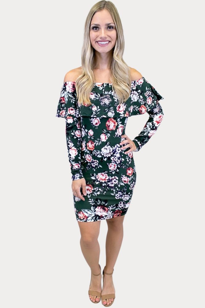 floral dress with long sleeves
