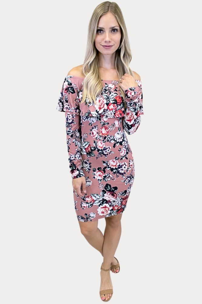 floral long sleeve ruffle dress
